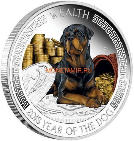 Тувалу 2х1 доллар 2018 Год Собаки Лунный календарь на Удачу Богатство Мудрость (Tuvalu 2x1$ 2018 Year of the Dog Wealth & Wisdom).Арт.60 (фото, вид 1)