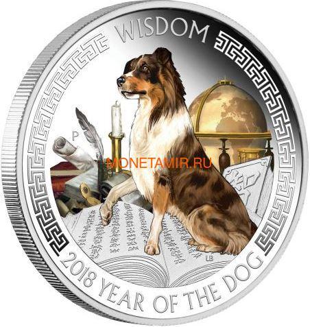 Тувалу 2х1 доллар 2018 Год Собаки Лунный календарь на Удачу Богатство Мудрость (Tuvalu 2x1$ 2018 Year of the Dog Wealth & Wisdom).Арт.60 (фото, вид 2)