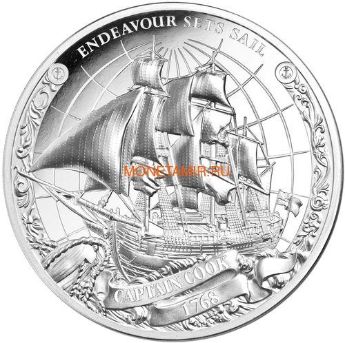 Острова Кука 3х5 долларов 2018 Капитан Кук Набор 3 монеты (Cook Isl. 3x5$ 2018 Captain Cook 3 coin Set Ship Ultra High Relief 1oz Silver Proof).Арт.60 (фото, вид 1)