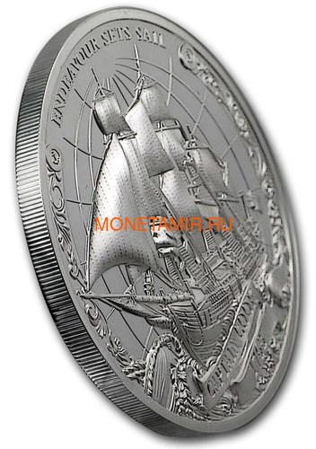 Острова Кука 3х5 долларов 2018 Капитан Кук Набор 3 монеты (Cook Isl. 3x5$ 2018 Captain Cook 3 coin Set Ship Ultra High Relief 1oz Silver Proof).Арт.60 (фото, вид 2)