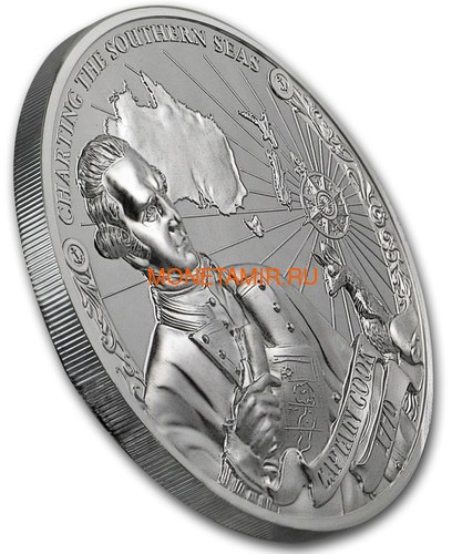 Острова Кука 3х5 долларов 2018 Капитан Кук Набор 3 монеты (Cook Isl. 3x5$ 2018 Captain Cook 3 coin Set Ship Ultra High Relief 1oz Silver Proof).Арт.60 (фото, вид 6)