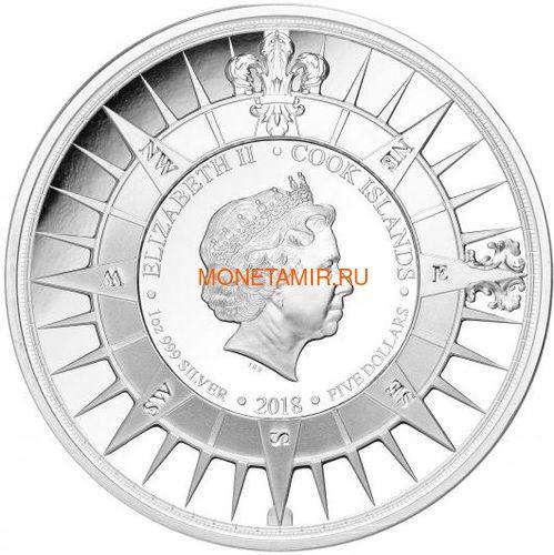 Острова Кука 3х5 долларов 2018 Капитан Кук Набор 3 монеты (Cook Isl. 3x5$ 2018 Captain Cook 3 coin Set Ship Ultra High Relief 1oz Silver Proof).Арт.60 (фото, вид 7)