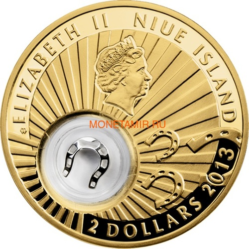 Ниуэ 2 доллара 2013 Подкова Коровка Монеты на Удачу (Niue 2$ 2013 Lucky Coin Horseshoe GPL).Арт.000330349055/60 (фото, вид 1)