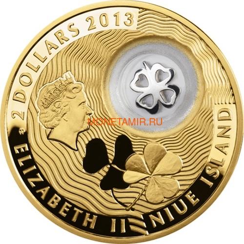 Ниуэ 2 доллара 2013 Клевер Монеты на Удачу (Niue 2$ 2013 Lucky Coin Clover GPL).Арт.000330349051/60 (фото, вид 1)