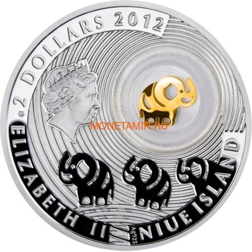 Ниуэ 2 доллара 2012 Слон Монеты на Удачу (Niue 2$ 2012 Lucky Coin Elephant).Арт.000307149041/60 (фото, вид 1)