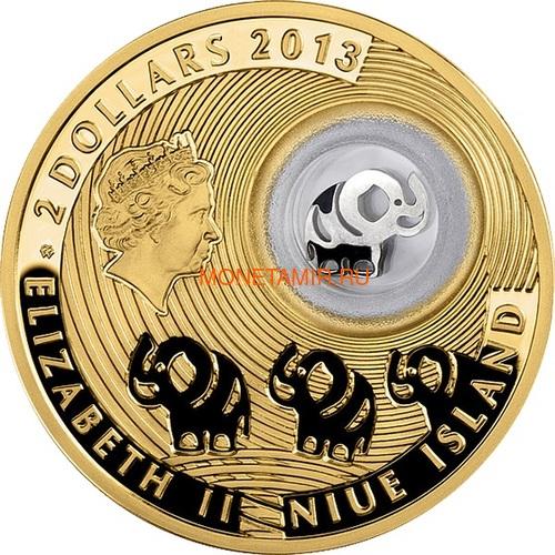 Ниуэ 2 доллара 2013 Слон Монеты на Удачу (Niue 2$ 2013 Lucky Coin Elephant GPL).Арт.000330349043/60 (фото, вид 1)
