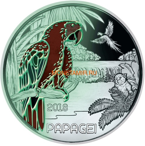 Австрия 3 евро 2018 Попугай (Colourful Creatures The Parrot Austria 3 euro 2018).Арт.60 (фото, вид 1)