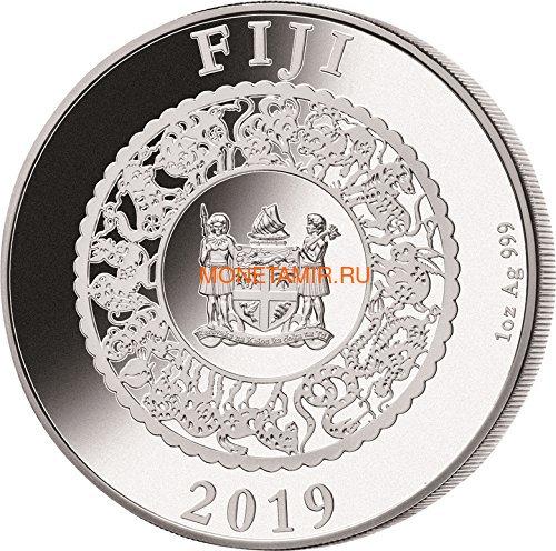 Фиджи 10 долларов 2019 Год Свиньи Лунный календарь Жемчужина (Fiji 10$ 2019 Lunar Pig Pearl).Арт.60 (фото, вид 2)
