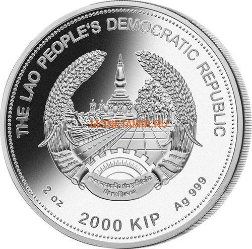 Лаос 2000 кип 2019 Год Свиньи Лунный календарь Нефрит (Laos 2000K 2019 Lunar Pig Jade).Арт.60 (фото, вид 1)