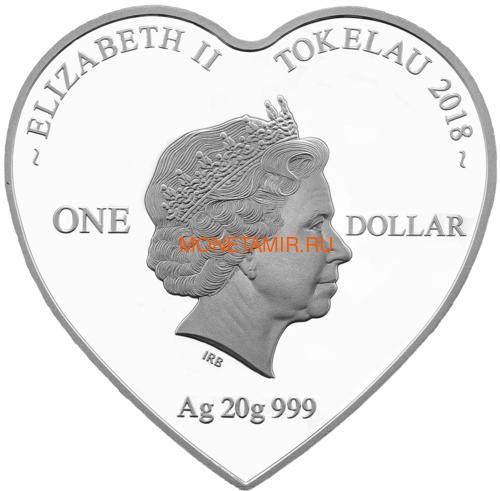 Токелау 1 доллар 2018 Любовь Попугаи Сердце (Tokelau 1$ 2018 Love Parrots Bird Heart Shaped).Арт.000462256510/60 (фото, вид 1)