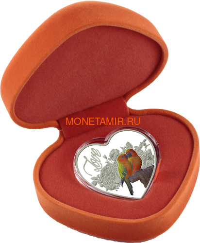 Токелау 1 доллар 2018 Любовь Попугаи Сердце (Tokelau 1$ 2018 Love Parrots Bird Heart Shaped).Арт.000462256510/60 (фото, вид 2)