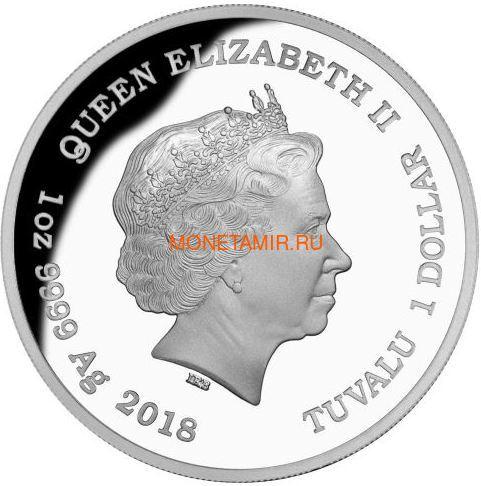 Тувалу 1 доллар 2018 Зеленый Питон Замечательные Рептилии (Tuvalu 1$ 2018 Green Tree Python Remarkable Reptiles 1 oz Silver Coin).Арт.60 (фото, вид 1)