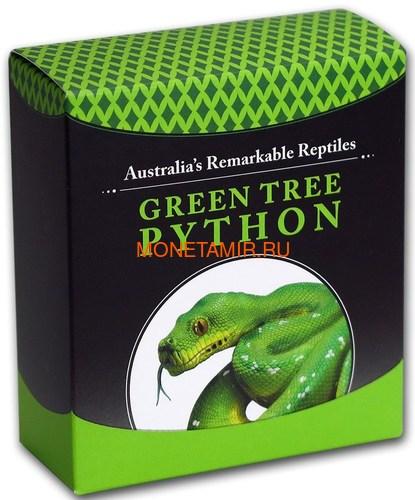 Тувалу 1 доллар 2018 Зеленый Питон Замечательные Рептилии (Tuvalu 1$ 2018 Green Tree Python Remarkable Reptiles 1 oz Silver Coin).Арт.60 (фото, вид 5)