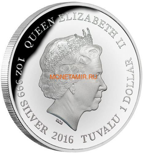 Тувалу 1 доллар 2016 Ящерица Варан Замечательные Рептилии (Tuvalu 1$ 2016 Goanna Remarkable Reptiles 1oz Silver Coin).Арт.000412652666/60 (фото, вид 1)