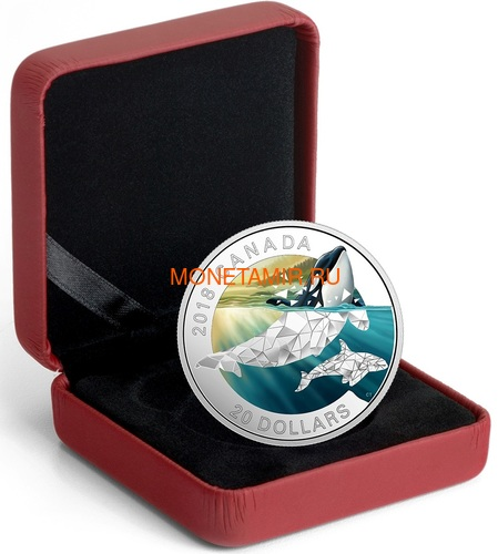 Канада 20 долларов 2018 Кит Косатка Геометрическая Фауна (Canada 20C$ 2018 Geometric Fauna Orcas).Арт.60 (фото, вид 2)