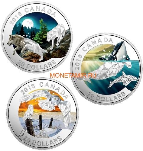 Канада 20 долларов 2018 Кит Косатка Геометрическая Фауна (Canada 20C$ 2018 Geometric Fauna Orcas).Арт.60 (фото, вид 3)