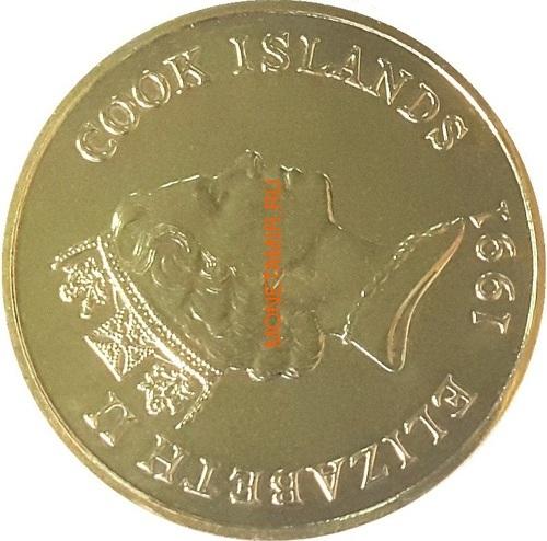Острова Кука 5 долларов 1991 Выдры (Cook Isl. 5$ 1991 Otters Endangered Wildlife).Арт.000021615076/60 (фото, вид 1)
