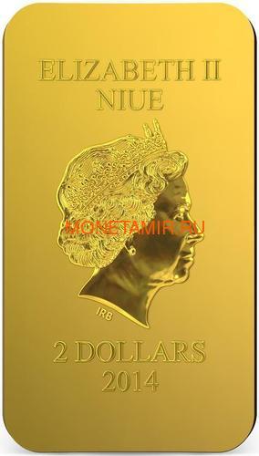 Ниуэ 2 доллара 2014 Икона Распятие Иисуса Христа серия Православные Святыни (Позолота).Арт.000492649033 (фото, вид 3)