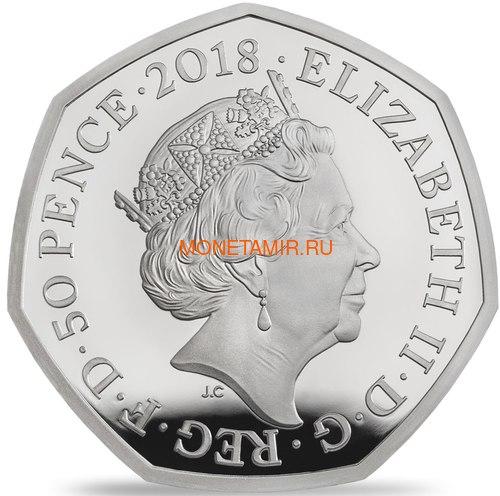 Великобритания 50 пенсов 2018 Кролик Питер Персонажи Беатрис Поттер (UK 50 pence 2018 Peter Rabbit Beatrix Potter Silver).Арт.60 (фото, вид 1)