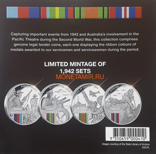 Ниуэ 4х1 доллар 2017 Вторая Мировая Война Австралия Набор 4 монеты (2017 $1 WWII Defending a Nation 4 Coin Set).Арт.60 (фото, вид 4)