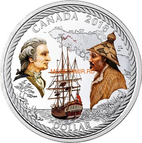 Канада 2018 набор монет Капитан Кук Залив Нутка Корабль Медведь Утка Олень Бобр (Canada 2018 Special Edition Silver Dollar Proof Set 240th Anniversary of Captain Cook at Nootka Sound).Арт.60 (фото, вид 1)