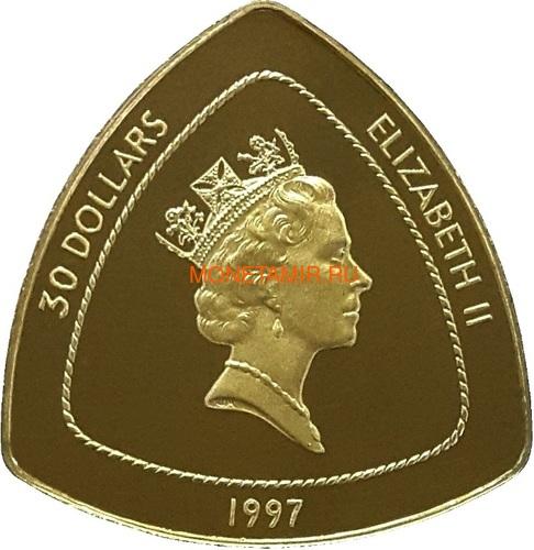 Бермуды 3х30 долларов 1996-1998 Бермудский Треугольник Корабли Компас Карта Набор 3 монеты (Bermuda 3х30$ 1996-1998 Gold Coins Set Bermuda Triangle Ships Compass Map).Арт.63 (фото, вид 4)