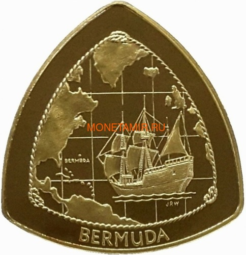 Бермуды 3х30 долларов 1996-1998 Бермудский Треугольник Корабли Компас Карта Набор 3 монеты (Bermuda 3х30$ 1996-1998 Gold Coins Set Bermuda Triangle Ships Compass Map).Арт.63 (фото, вид 5)