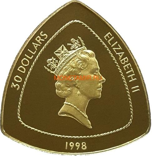 Бермуды 3х30 долларов 1996-1998 Бермудский Треугольник Корабли Компас Карта Набор 3 монеты (Bermuda 3х30$ 1996-1998 Gold Coins Set Bermuda Triangle Ships Compass Map).Арт.63 (фото, вид 6)