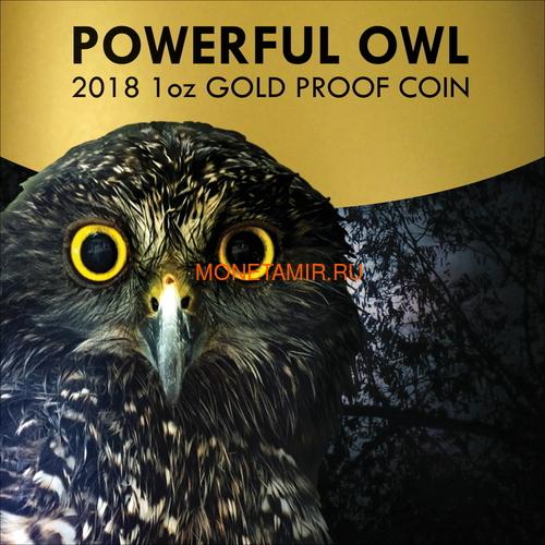 Ниуэ 100 долларов 2018 Сова (Niue 2018 100$ Endangered & Extinct Powerful Owl 1oz Pure Gold Proof).Арт.011624655579 (фото, вид 5)