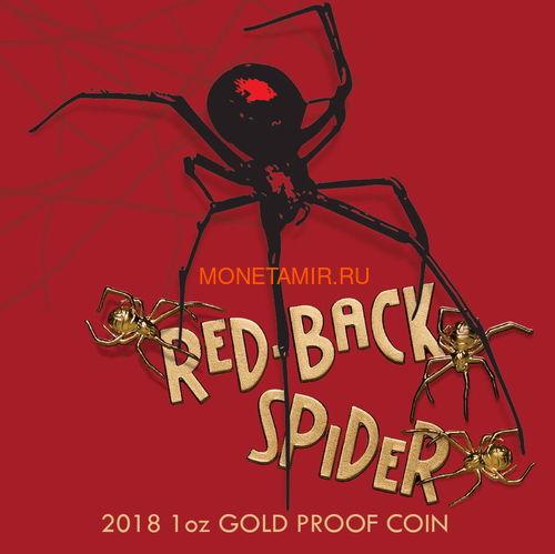 Ниуэ 100 долларов 2018 Красноспинный Паук (Niue 2018 $100 Deadly & Dangerous Red-Back Spider 1oz Gold Proof).Арт.011624655579 (фото, вид 4)