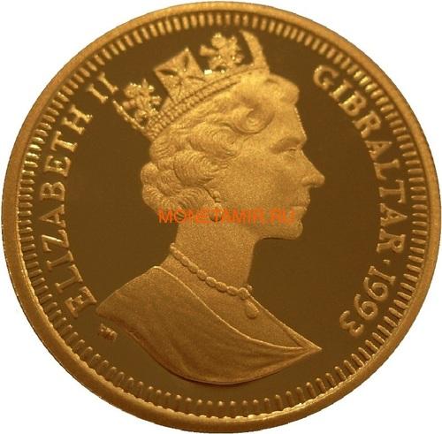 Гибралтар 1/5 кроны 1993 Мистер Джереми Фишер Лягушка Рыбалка 100 лет Кролику Питеру Раббиту (Gibraltar 1/5 crown 1993 Jeremy Fisher 100 Years of Peter Rabbit 1/5oz Gold).Арт.001905056311/64 (фото, вид 1)