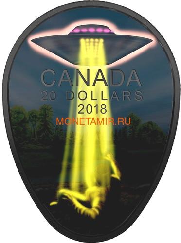 Канада 20 долларов 2018 Инцидент в Фалкон-Лейк НЛО Космос (Canada 20C$ 2018 The Falcon Lake Incident UFO Glow-in-the-Dark Coin).Арт.000569156255/64 (фото, вид 1)