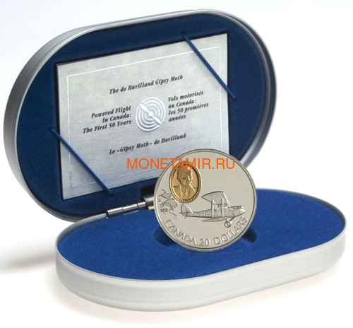 Канада 20 долларов 1992 Де Хэвиленд Джипси Мот Муртон А.Сеймура Авиация (Canada 20$ 1992 Aviation Series De Havilland Gipsy Moth Murton A.Seymour 1oz Silver Coin).Арт.68 (фото, вид 2)