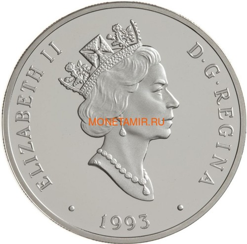 Канада 20 долларов 1993 Локхид 14 Супeр Электра Зебулон Льюис Лейх Авиация (Canada 20$ 1993 Aviation Series Lockheed 14 Super Electra Zebulon Lewis Leigh 1oz Silver Coin).Арт.68 (фото, вид 1)