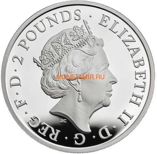 Великобритания 2 фунта 2019 Сокол Плантагенетов серия Звери Королевы (GB 2£ 2019 Queen's Beast The Falcon of the Plantagenets).Арт.70 (фото, вид 1)