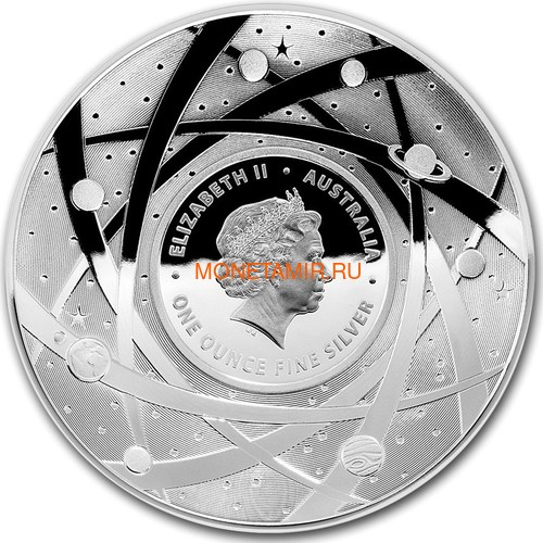 Австралия 5 долларов 2019 Луна серия За Пределами Земли Выпуклая (Australia 2019 $5 The Earth and Beyond The Moon Silv Proof Domed Coin).Арт.69 (фото, вид 2)