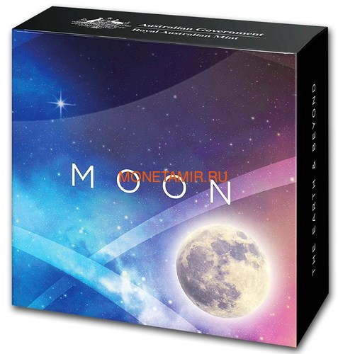 Австралия 5 долларов 2019 Луна серия За Пределами Земли Выпуклая (Australia 2019 $5 The Earth and Beyond The Moon Silv Proof Domed Coin).Арт.69 (фото, вид 4)