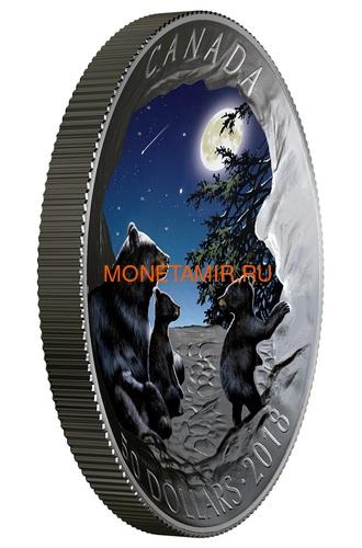 Канада 50 долларов 2018 Медведи Луна Природные Явления (Canada 50C$ 2018 Nature's Light Show Moonlit Tranquility Night Glow-in-the-Dark Coin) Выпуклая форма.Арт.69 (фото, вид 1)