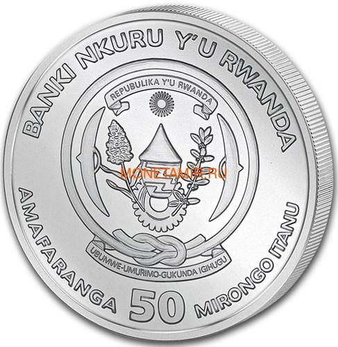 Руанда 50 франков 2019 Год Свиньи Лунный Календарь (2019 Rwanda 50 Francs Year of the Pig Lunar Ounce Silver Proof).Арт.69 (фото, вид 1)