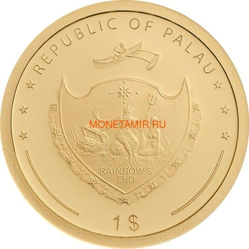 Палау 1 доллар 2019 Клевер На Удачу (Palau 1$ 2019 Good Luck 4-leaf Clover).Арт.69 (фото, вид 1)