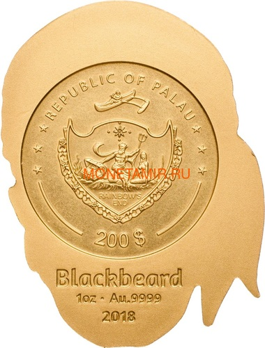 Палау 200 долларов 2018 Череп Пирата Черная Борода (Palau 200$ 2018 Pirate Skull Blackbeard 1oz Gold).Арт.69 (фото, вид 1)