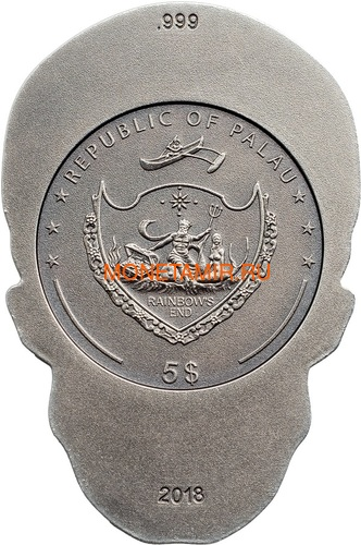 Палау 5 долларов 2018 Череп Катрины (Palau 5$ 2018 La Catrina Skull 1oz Silver).Арт.69 (фото, вид 1)