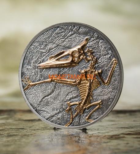 Монголия 500 тугриков 2018 Птерозавр Эволюция (Mongolia 500T 2018 Pterosaur Evolution 1oz Silver).Арт.69 (фото, вид 1)