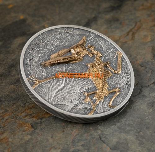 Монголия 500 тугриков 2018 Птерозавр Эволюция (Mongolia 500T 2018 Pterosaur Evolution 1oz Silver).Арт.69 (фото, вид 2)