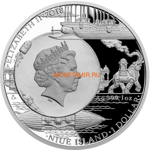 Ниуэ 1 доллар 2018 Колумбиада Мир Жюль Верна (Niue 1$ 2018 Jules Verne Columbiad Mechanical Elephan Albatross Ship Nautilus Submarine Octopus Space).Арт.60 (фото, вид 1)