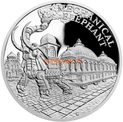 Ниуэ 2018 Набор 4 Монеты Мир Жюль Верна Наутилус Альбатрос Механический Слон Колумбиада (2018 Niue Jules Verne Nautilus Columbiad Mechanical Elephan Albatross 4 coin set).Арт.60 (фото, вид 3)