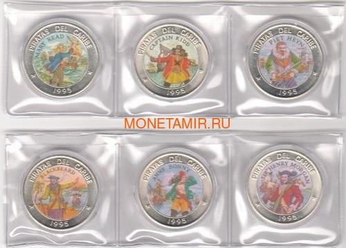 Куба 6х1 песо 1995 Пираты Карибского Моря Набор Монет (Cuba 6х1 pesos 1995 Pirates of the Caribbean Coins Set).Арт.69 (фото, вид 1)