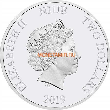 Ниуэ 2 доллара 2019 Год Свиньи Лунный календарь (Niue 2$ 2019 Year of the Pig 1oz Silver).Арт.69 (фото, вид 1)