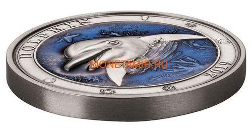 Барбадос 5 долларов 2019 Дельфин Подводный Мир (Barbados 5$ 2019 Dolphin Underwater World 3oz Silver).Арт.69 (фото, вид 1)