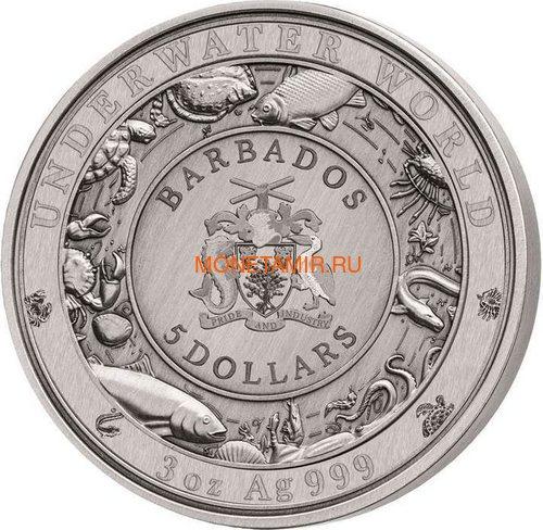 Барбадос 5 долларов 2019 Дельфин Подводный Мир (Barbados 5$ 2019 Dolphin Underwater World 3oz Silver).Арт.69 (фото, вид 2)